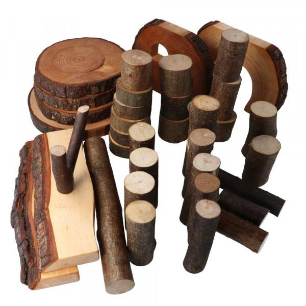 Baumklötze 36 eco-Blocks geölt mit Rinde Magic Wood
