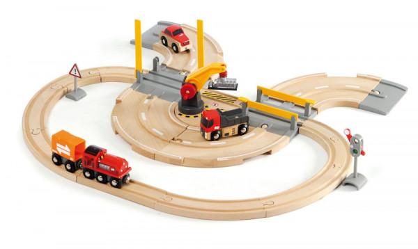 Eisenbahn Set Strassen und Schienen Kran Brio 33208