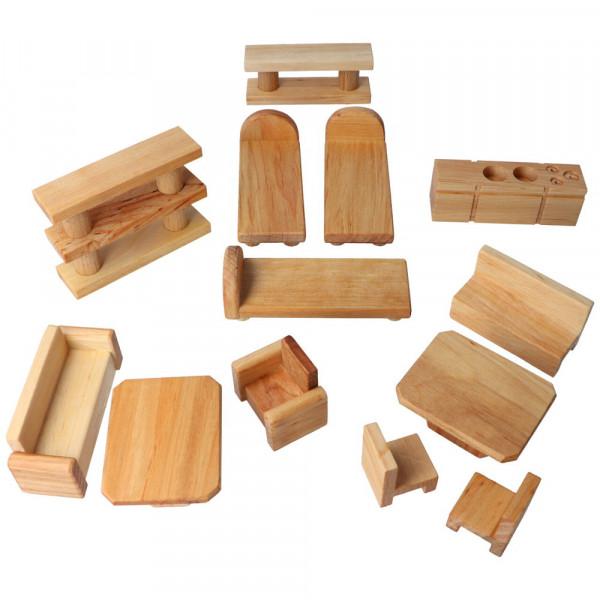 Holz Puppen Möbelset 13 Teile Decor Spielzeug komplett