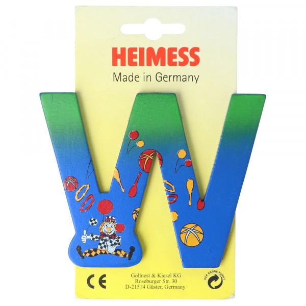 Holzbuchstabe W Heimess Blau Clown