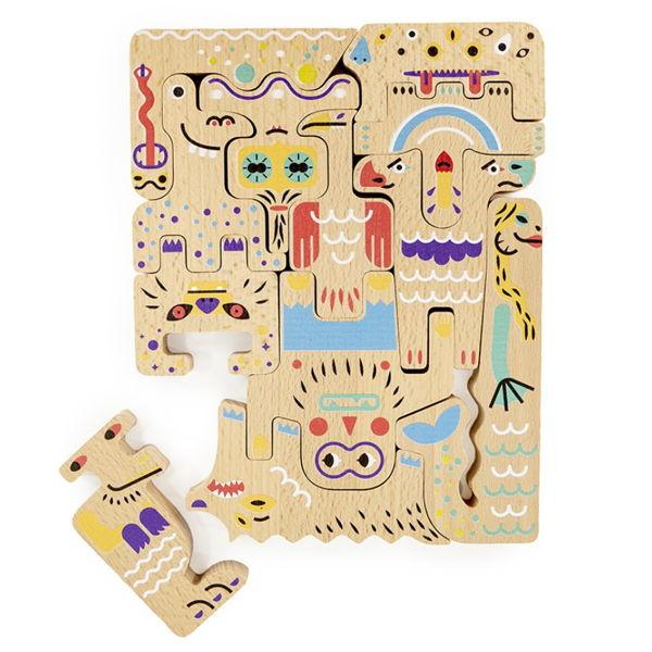Freundliche Monster doppelseitiges Puzzle Bajo
