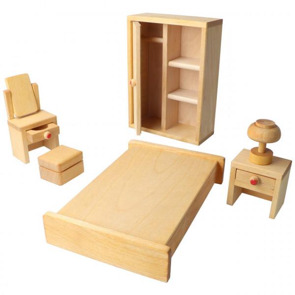Holz Puppen Möbelset Schlafzimmer 6 Teile Drei Blätter