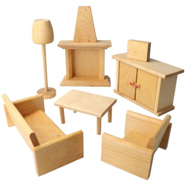 Holz Puppen Möbelset Wohnzimmer 7 Teile Drei Blätter