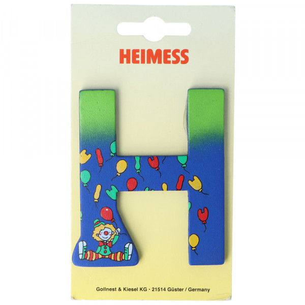 Holzbuchstabe H Heimess Blau Clown