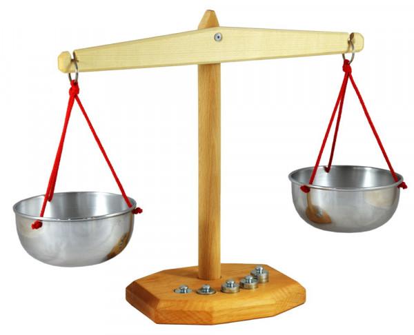 Holz Waage mit 5 Gewichten Decor Spielzeug Kaufmannsladen