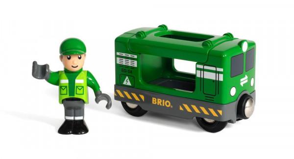 Eisenbahn Anhänger Frachtlok mit Fahrer Brio