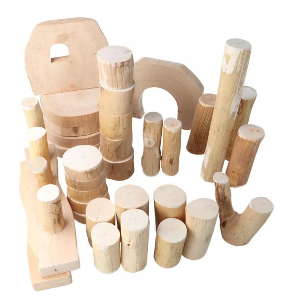 Baumklötze 36 eco-Blocks geölt ohne Rinde Magic Wood