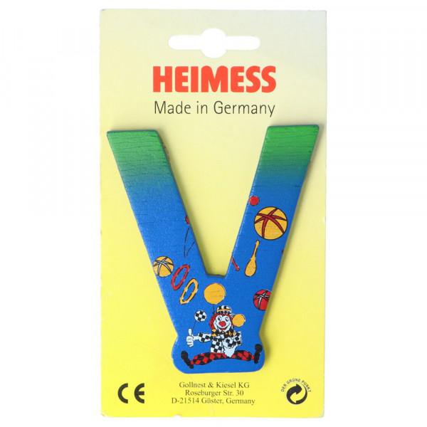 Holzbuchstabe V Heimess Blau Clown