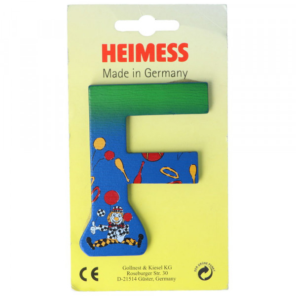 Holzbuchstabe F Heimess Blau